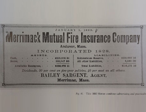 Merrimack Mutual Fire Insurance Company blotter from 1883